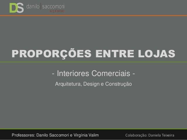PROPORÇÕES ENTRE LOJAS - Interiores Comerciais - Arquitetura, Design e Construção Professores: Danilo Saccomori e Virgínia...