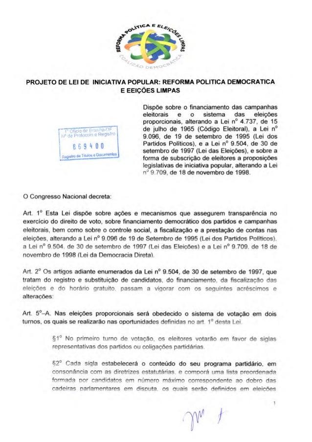 Projetodelei Iniciatica Popular OAB CNBB Reforma Política democrática