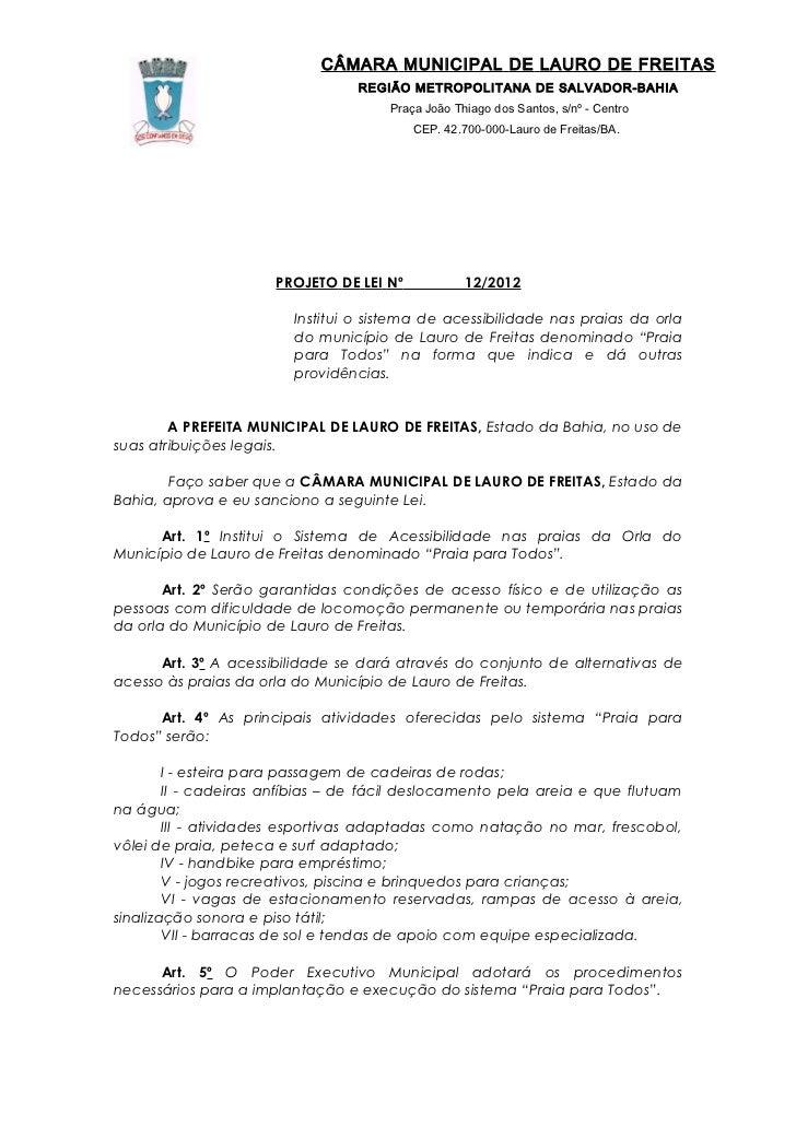CÂMARA MUNICIPAL DE LAURO DE FREITAS                                  REGIÃO METROPOLITANA DE SALVADOR-BAHIA              ...