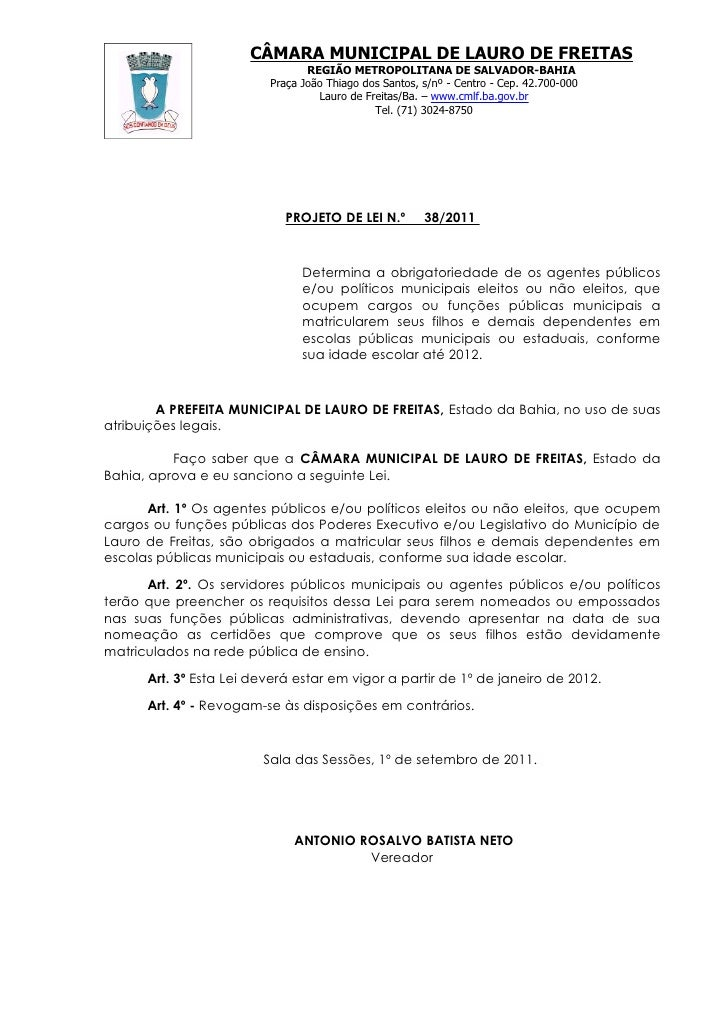 Projeto de Lei nº 038/2011 de 01 de setembro de 2011