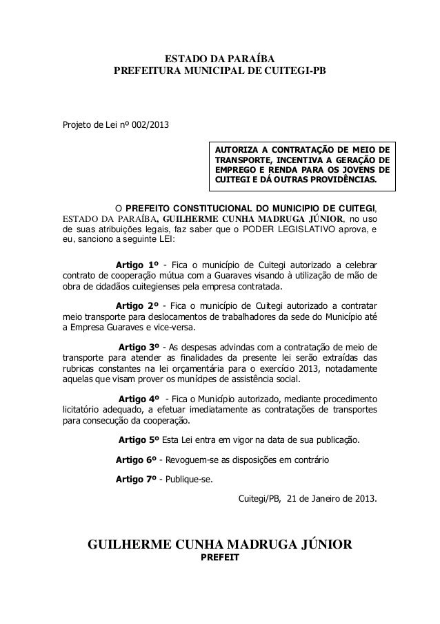 ESTADO DA PARAÍBA            PREFEITURA MUNICIPAL DE CUITEGI-PBProjeto de Lei nº 002/2013                                 ...