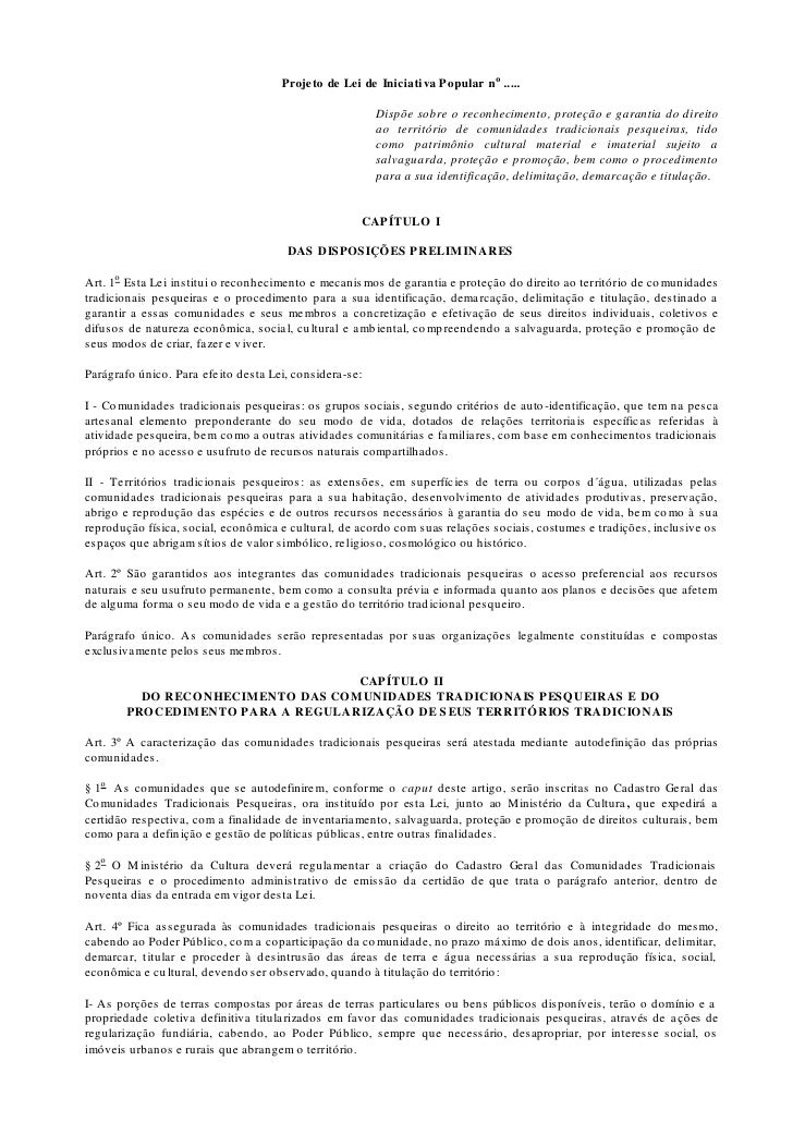 Projeto de Lei de Iniciati va Popular no .....                                                        Dispõe sobre o recon...