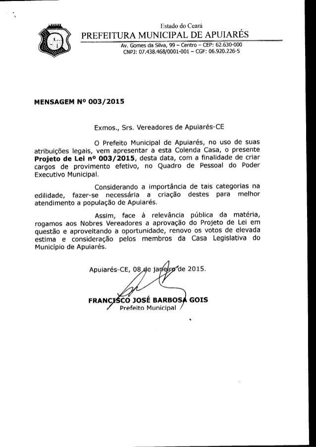 Estado do Ceará ' PREFEITURA MUNICIPAL DE APUIARES  Av.  Gomes da Silva,  99 - Centro ~ CEP:  62.630-000 CNPJ:  07.438.468...