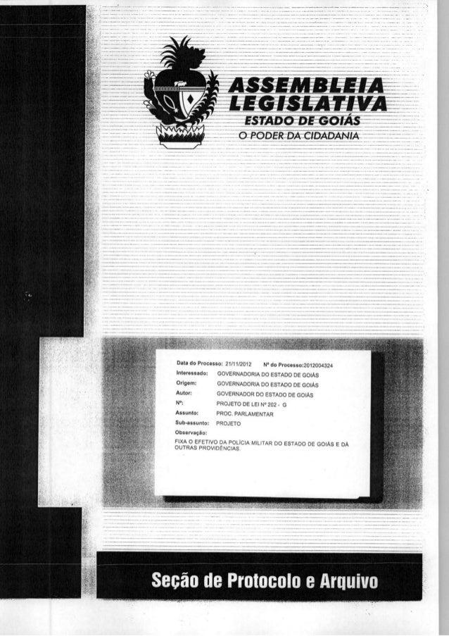 Projeto de lei que fixa eftivo da pmgo