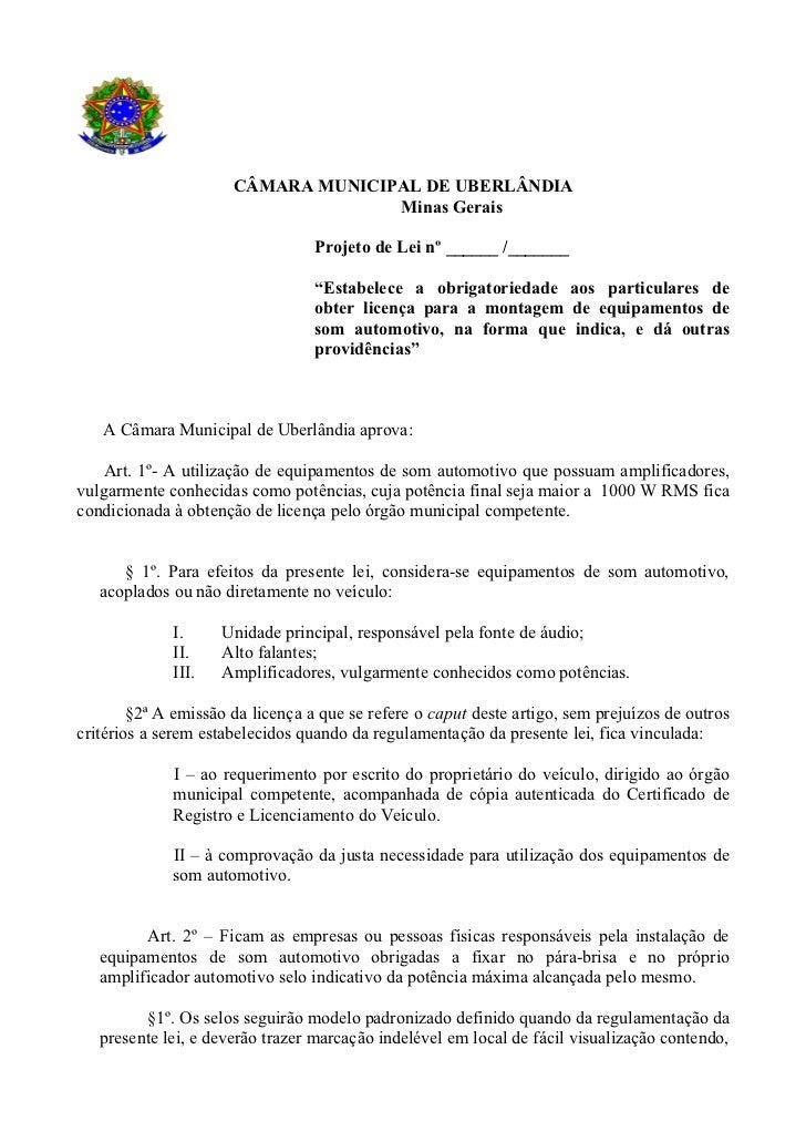 CÂMARA MUNICIPAL DE UBERLÂNDIA                                    Minas Gerais                                  Projeto de...