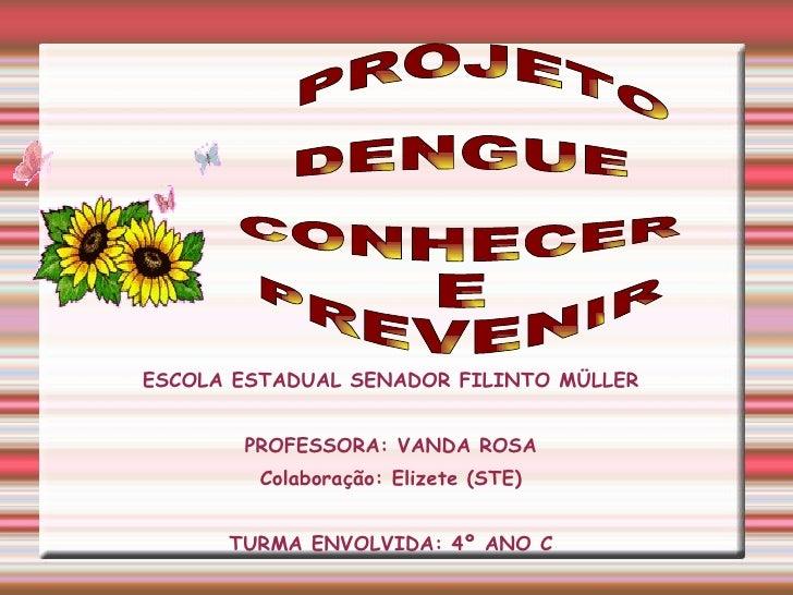 ESCOLA ESTADUAL SENADOR FILINTO MÜLLER PROFESSORA: VANDA ROSA Colaboração: Elizete (STE) TURMA ENVOLVIDA: 4º ANO C PROJETO...