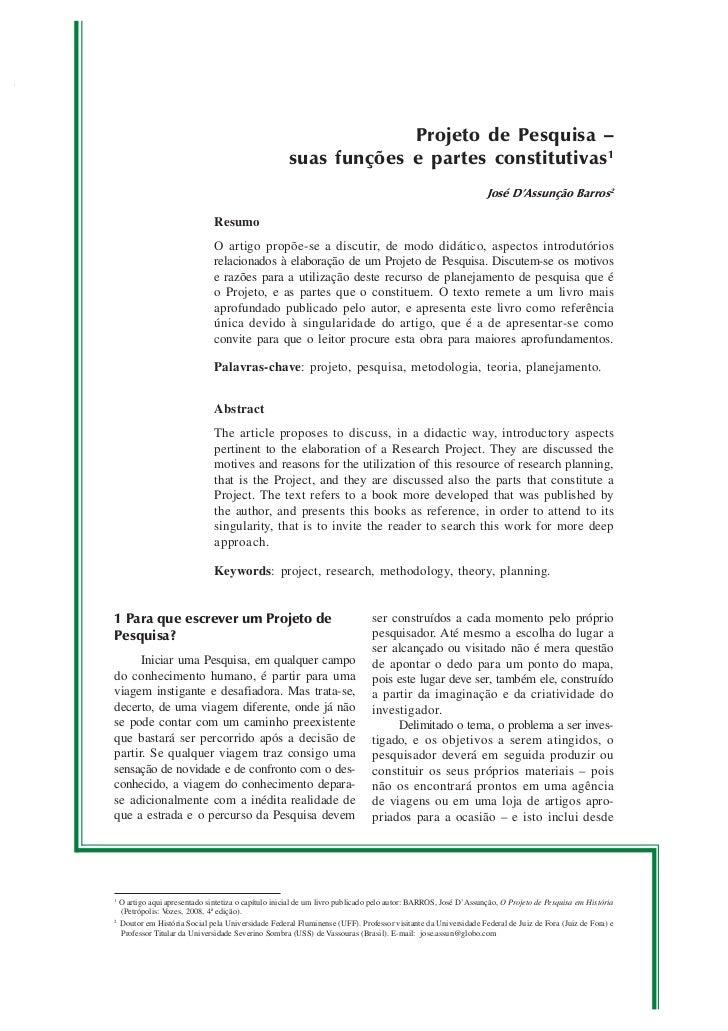 Projeto de Pesquisa –                                                    suas funções e partes constitutivas 1            ...