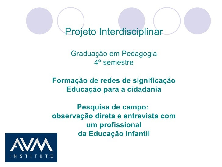 Projeto Interdisciplinar Graduação em Pedagogia 4º semestre Formação de redes de significação Educação para a cidadania Pe...