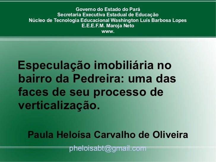 Governo do Estado do Pará            Secretaria Executiva Estadual de Educação Núcleo de Tecnologia Educacional Washington...