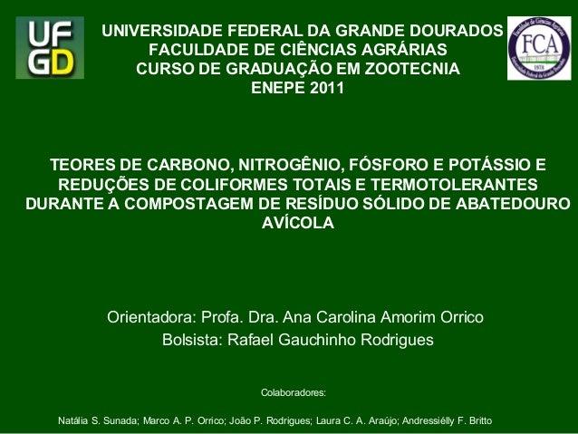 UNIVERSIDADE FEDERAL DA GRANDE DOURADOS  FACULDADE DE CIÊNCIAS AGRÁRIAS  CURSO DE GRADUAÇÃO EM ZOOTECNIA  ENEPE 2011  TEOR...