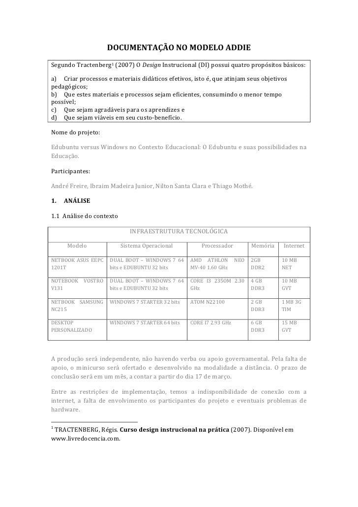 DOCUMENTAÇÃO NO MODELO ADDIESegundo Tractenberg1 (2007) O Design Instrucional (DI) possui quatro propósitos básicos:a) Cri...