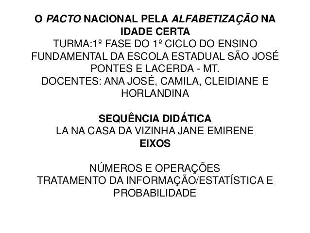 O PACTO NACIONAL PELA ALFABETIZAÇÃO NA  IDADE CERTA  TURMA:1º FASE DO 1º CICLO DO ENSINO  FUNDAMENTAL DA ESCOLA ESTADUAL S...
