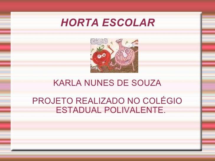 HORTA ESCOLAR KARLA NUNES DE SOUZA PROJETO REALIZADO NO COLÉGIO ESTADUAL POLIVALENTE.