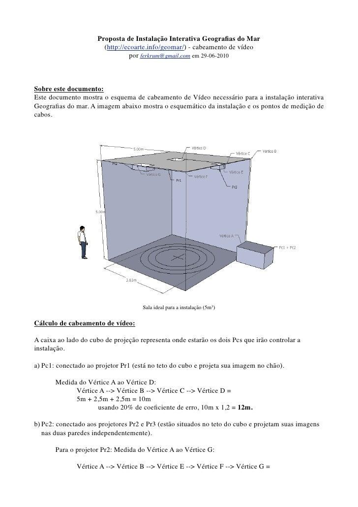 Proposta de Instalação Interativa Geografias do Mar                        (http://ecoarte.info/geomar/) - cabeamento de ví...