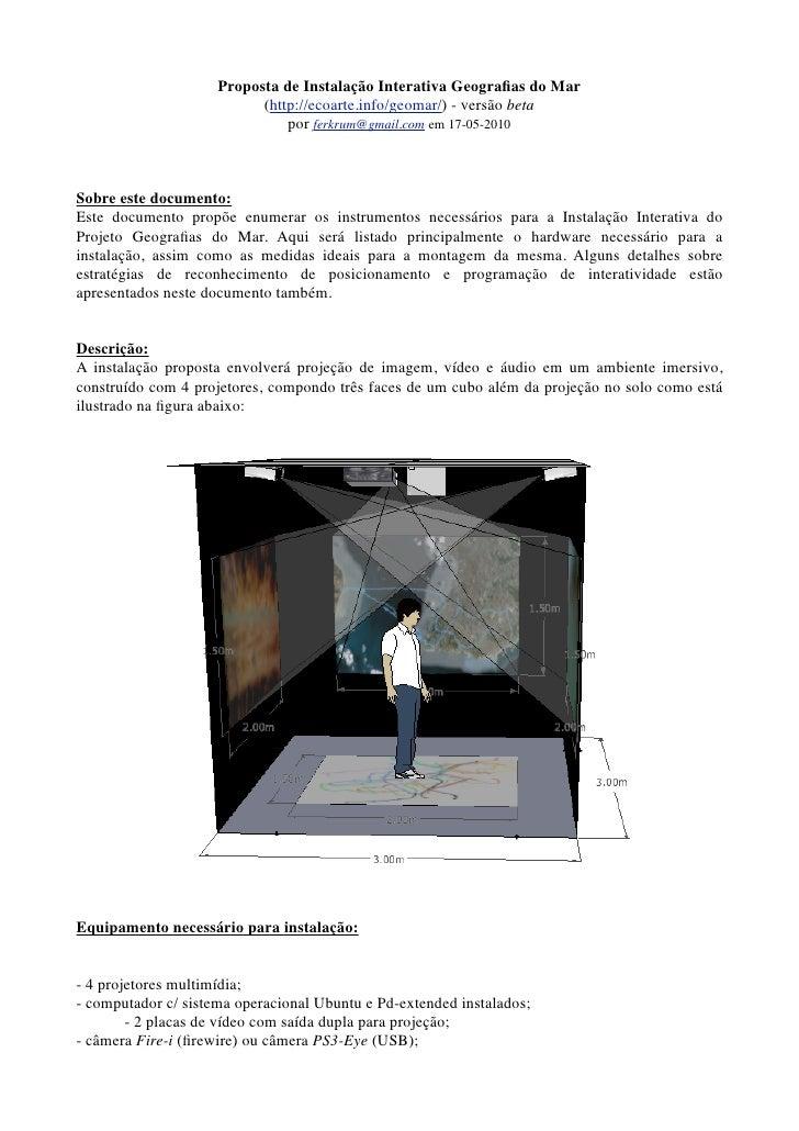 Proposta de Instalação Interativa Geografias do Mar                            (http://ecoarte.info/geomar/) - versão beta ...