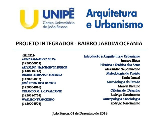 PROJETO INTEGRADOR - BAIRRO JARDIM OCEANIA GRUPO I: ALINE RAMALHO F. SILVA (1420000808) ARIVALDO NASCIMENTO JÚNIOR (142014...