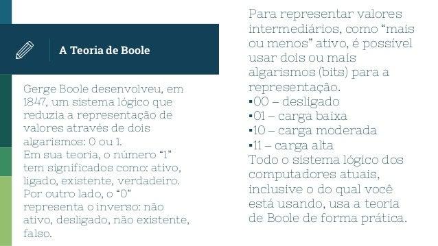 Gerge Boole desenvolveu, em 1847, um sistema lógico que reduzia a representação de valores através de dois algarismos: 0 o...