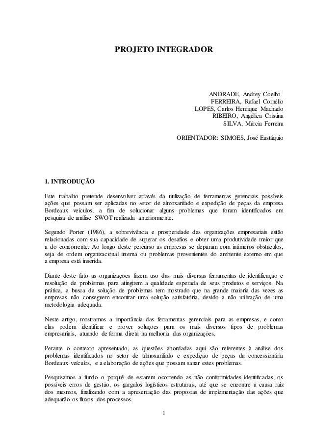 1 PROJETO INTEGRADOR ANDRADE, Andrey Coelho FERREIRA, Rafael Cornélio LOPES, Carlos Henrique Machado RIBEIRO, Angélica Cri...