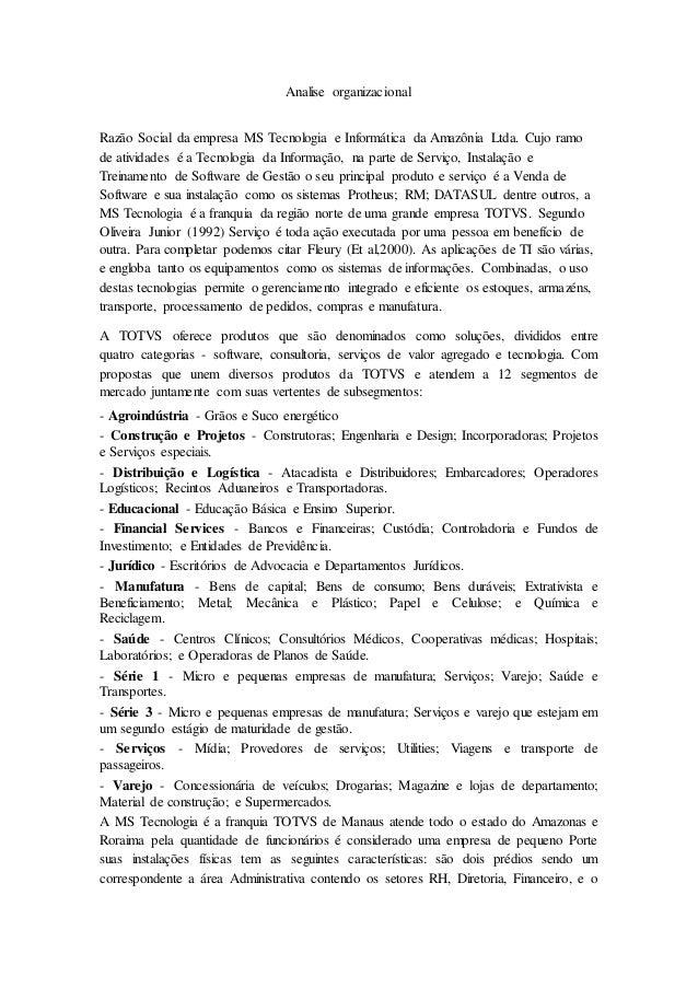 Analise organizacional Razão Social da empresa MS Tecnologia e Informática da Amazônia Ltda. Cujo ramo de atividades é a T...