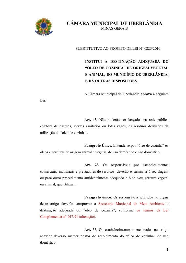 Projeto lei   óleo de cozinha (1) - substitutivo
