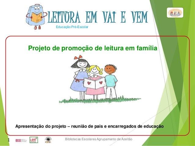 Bibliotecas Escolares Agrupamento de Azeitão Educação Pré-Escolar 1 Projeto de promoção de leitura em família Apresentação...