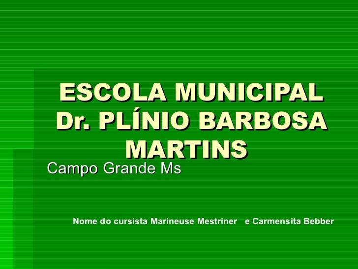 ESCOLA MUNICIPAL Dr. PLÍNIO BARBOSA MARTINS   Campo Grande Ms  Nome do cursista Marineuse Mestriner  e Carmensita Bebber