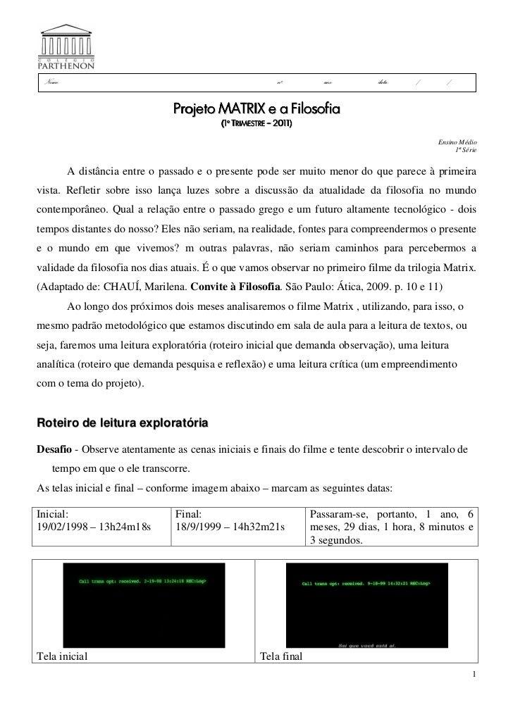 Projeto Matrix e a Filosofia - Roteiro para leitura exploratória - padrão de resposta1