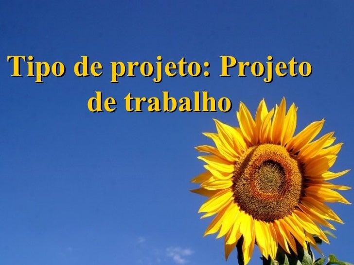 Tipo de projeto: Projeto de trabalho