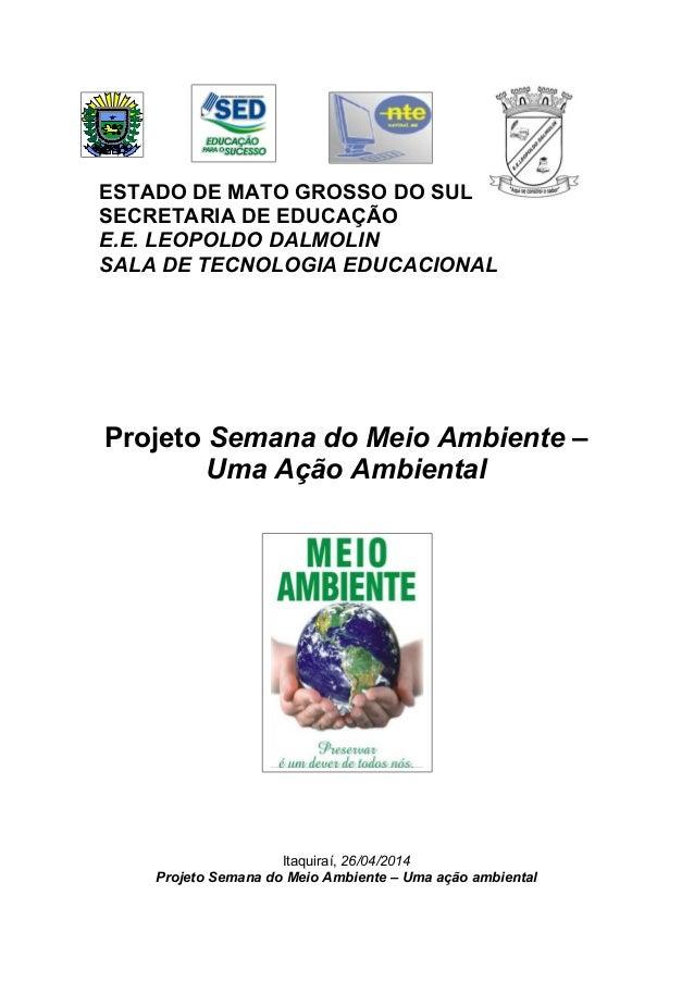 ESTADO DE MATO GROSSO DO SUL SECRETARIA DE EDUCAÇÃO E.E. LEOPOLDO DALMOLIN SALA DE TECNOLOGIA EDUCACIONAL Projeto Semana d...