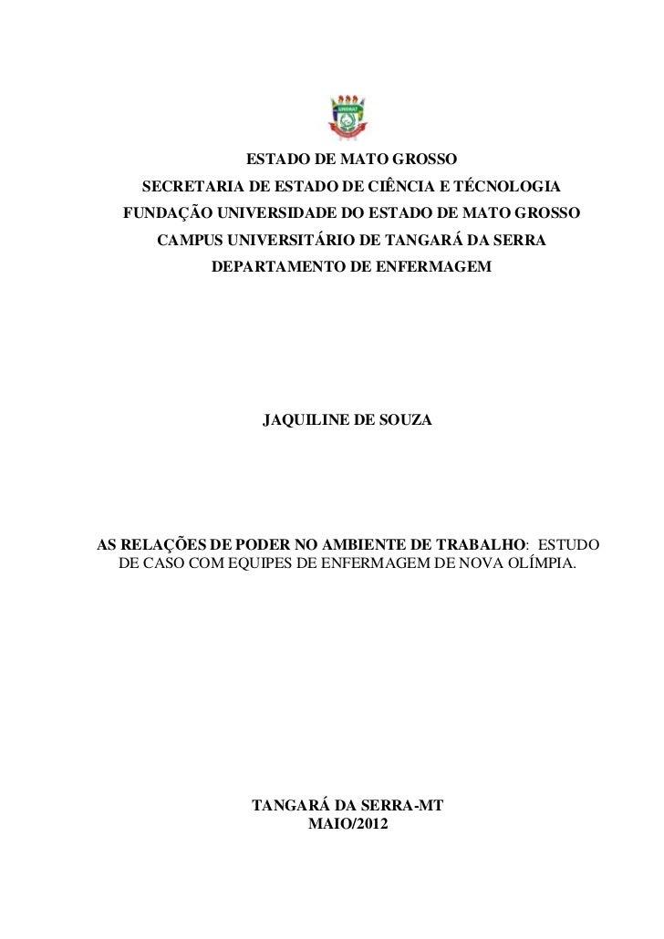 ESTADO DE MATO GROSSO    SECRETARIA DE ESTADO DE CIÊNCIA E TÉCNOLOGIA  FUNDAÇÃO UNIVERSIDADE DO ESTADO DE MATO GROSSO     ...