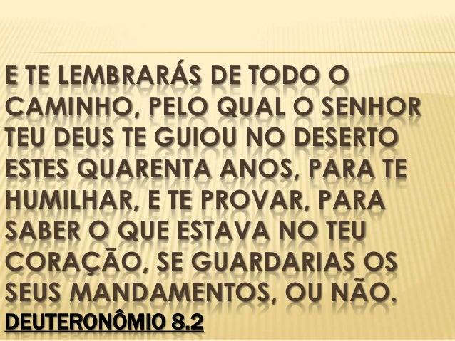 E TE LEMBRARÁS DE TODO O CAMINHO, PELO QUAL O SENHOR TEU DEUS TE GUIOU NO DESERTO ESTES QUARENTA ANOS, PARA TE HUMILHAR, E...