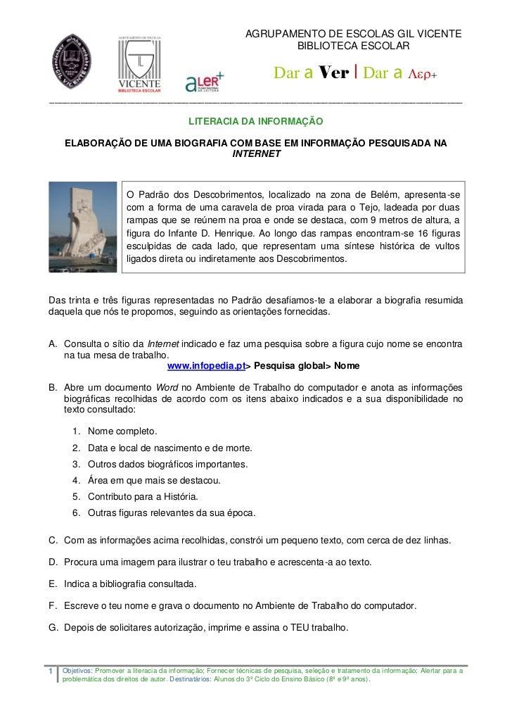 AGRUPAMENTO DE ESCOLAS GIL VICENTE                                                                     BIBLIOTECA ESCOLAR ...