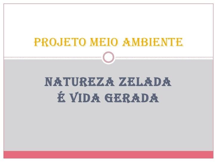 PROJETO MEIO AMBIENTE NATUREZA ZELADA  É VIDA GERADA