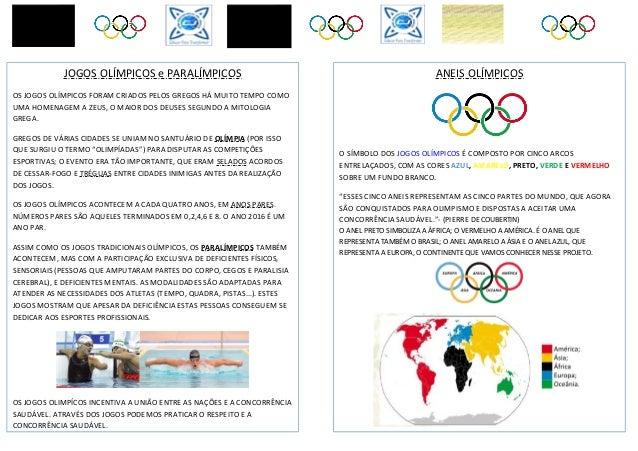 ANEIS OLÍMPICOS O SÍMBOLO DOS JOGOS OLÍMPICOS É COMPOSTO POR CINCO ARCOS ENTRELAÇADOS, COM AS CORES AZUL, AMARELO, PRETO, ...