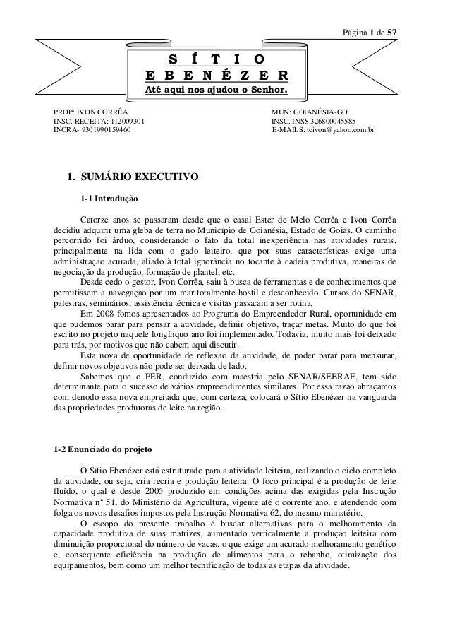Página 1 de 57  PROP: IVON CORRÊA MUN: GOIANÉSIA-GO  INSC. RECEITA: 112009301 INSC. INSS 326800045585  INCRA- 930199015946...