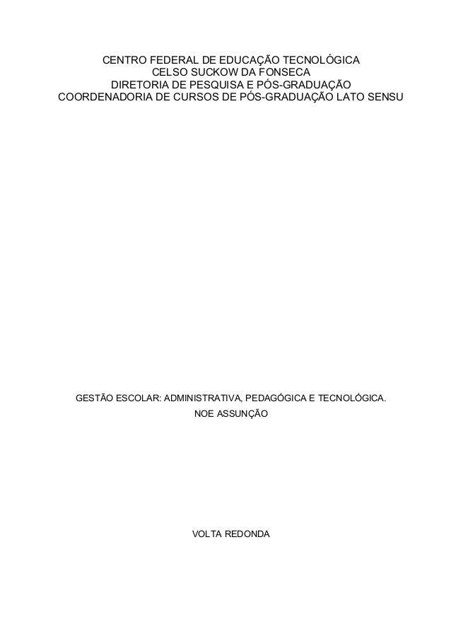 CENTRO FEDERAL DE EDUCAÇÃO TECNOLÓGICA CELSO SUCKOW DA FONSECA DIRETORIA DE PESQUISA E PÓS-GRADUAÇÃO COORDENADORIA DE CURS...