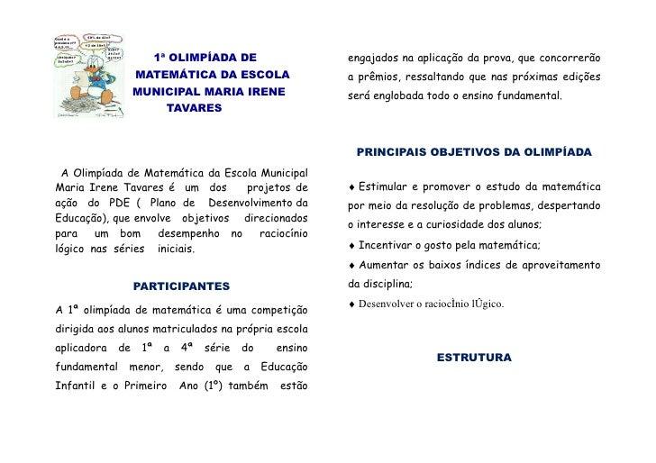 1ª OLIMPÍADA DE                      engajados na aplicação da prova, que concorrerão                    MATEMÁTICA DA ESC...