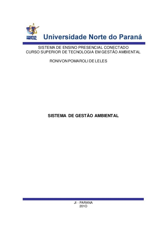 JI - PARANA 201O SISTEMA DE ENSINO PRESENCIAL CONECTADO RONIVONPOMAROLI DE LELES SISTEMA DE ENSINO PRESENCIAL CONECTADO CU...