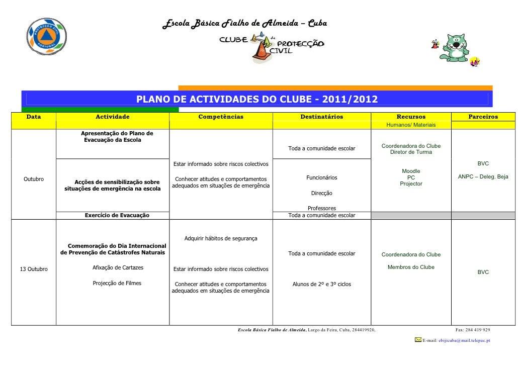 Escola Básica Fialho de Almeida – Cuba                                         PLANO DE ACTIVIDADES DO CLUBE - 2011/2012  ...