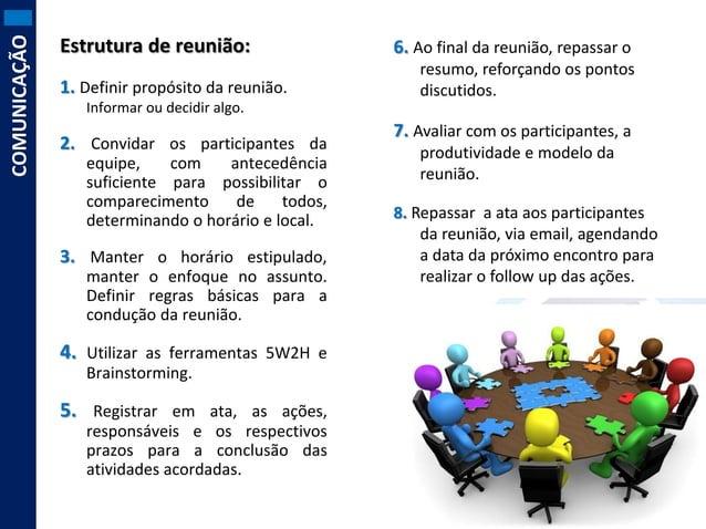 COMUNICAÇÃO  Estrutura de reunião: 1. Definir propósito da reunião.  6. Ao final da reunião, repassar o resumo, reforçando...