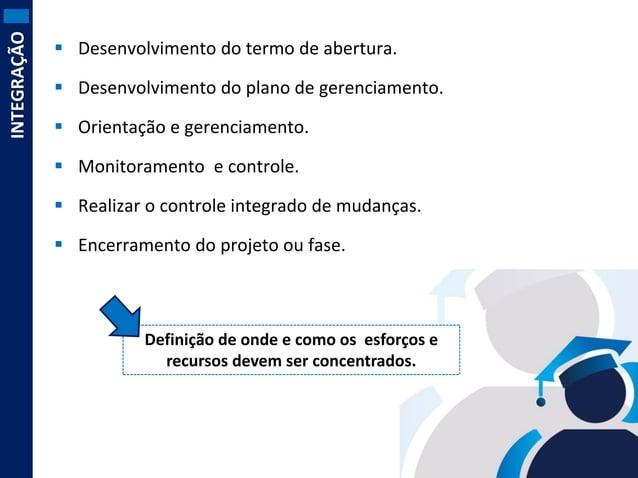 INTEGRAÇÃO   Desenvolvimento do termo de abertura.  Desenvolvimento do plano de gerenciamento.   Orientação e gerenciam...