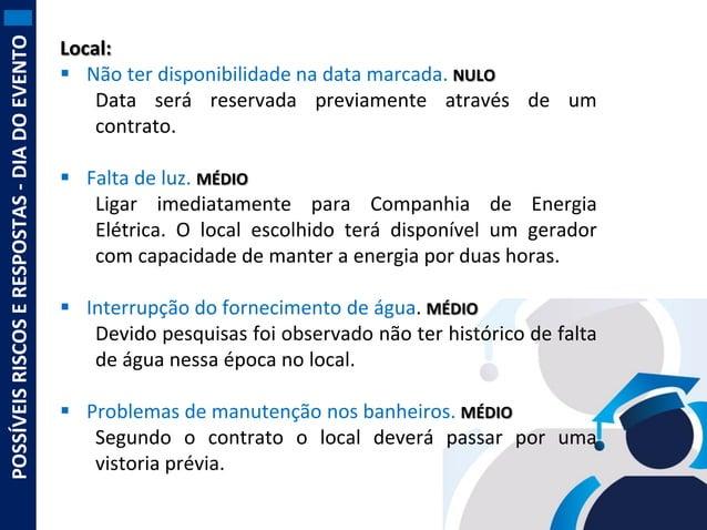 POSSÍVEIS RISCOS E RESPOSTAS - DIA DO EVENTO  Local:  Não ter disponibilidade na data marcada. NULO Data será reservada p...