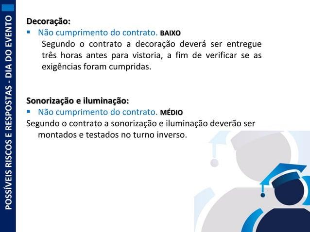 POSSÍVEIS RISCOS E RESPOSTAS - DIA DO EVENTO  Decoração:  Não cumprimento do contrato. BAIXO Segundo o contrato a decoraç...