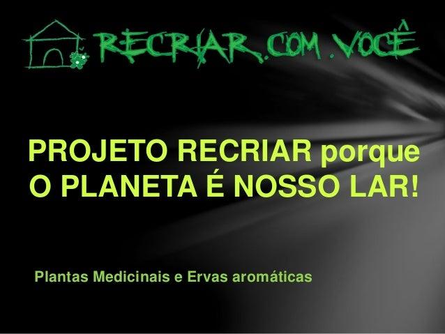 PROJETO RECRIAR porque O PLANETA É NOSSO LAR! Plantas Medicinais e Ervas aromáticas