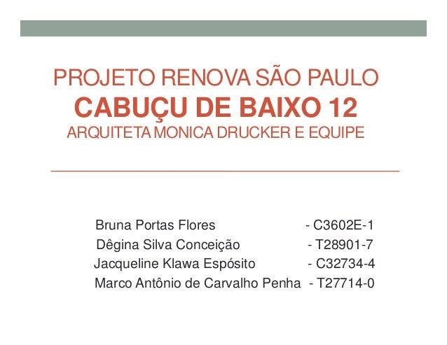 PROJETO RENOVA SÃO PAULO CABUÇU DE BAIXO 12 ARQUITETAMONICA DRUCKER E EQUIPE Bruna Portas Flores - C3602E-1 Dêgina Silva C...