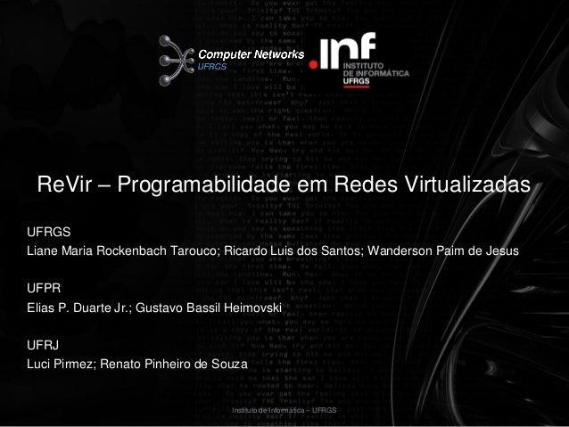ReVir – Programabilidade em Redes VirtualizadasUFRGSLiane Maria Rockenbach Tarouco; Ricardo Luis dos Santos; Wanderson Pai...