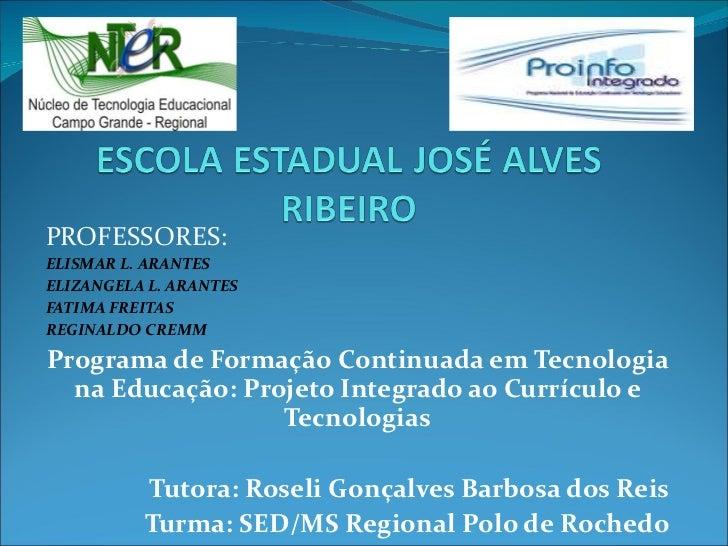 PROFESSORES:  ELISMAR L. ARANTES ELIZANGELA L. ARANTES FATIMA FREITAS REGINALDO CREMM Programa de Formação Continuada em T...