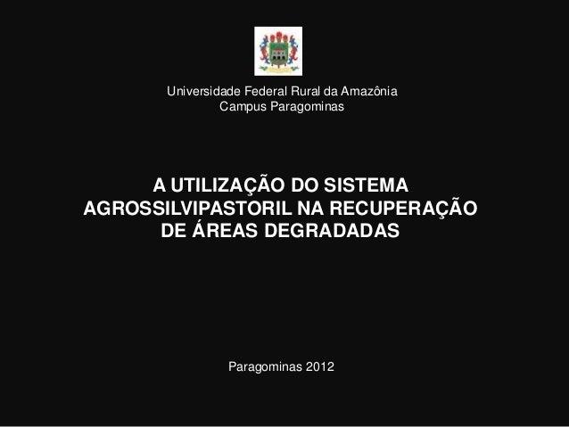 Universidade Federal Rural da Amazônia                Campus Paragominas     A UTILIZAÇÃO DO SISTEMAAGROSSILVIPASTORIL NA ...
