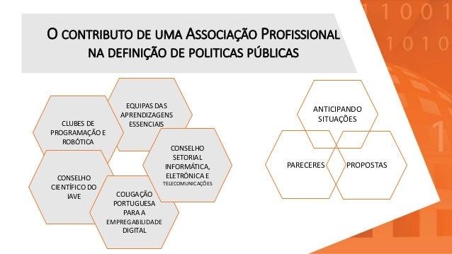 O CONTRIBUTO DE UMA ASSOCIAÇÃO PROFISSIONAL NA DEFINIÇÃO DE POLITICAS PÚBLICAS PROPOSTAS PARECERES ANTICIPANDO SITUAÇÕES E...