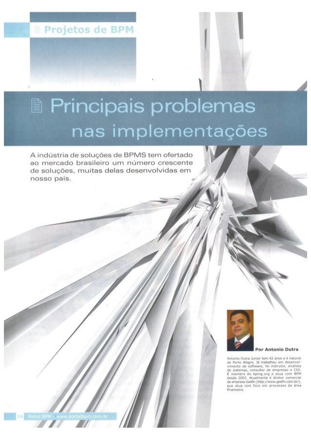 Projetos de BPM - Principais problemas em implementação - Sysphera 2014, Por Antonio Dutra Jr.